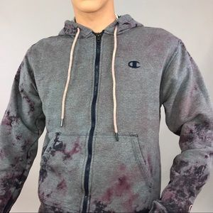 Ash purple custom bleached Champion jacket